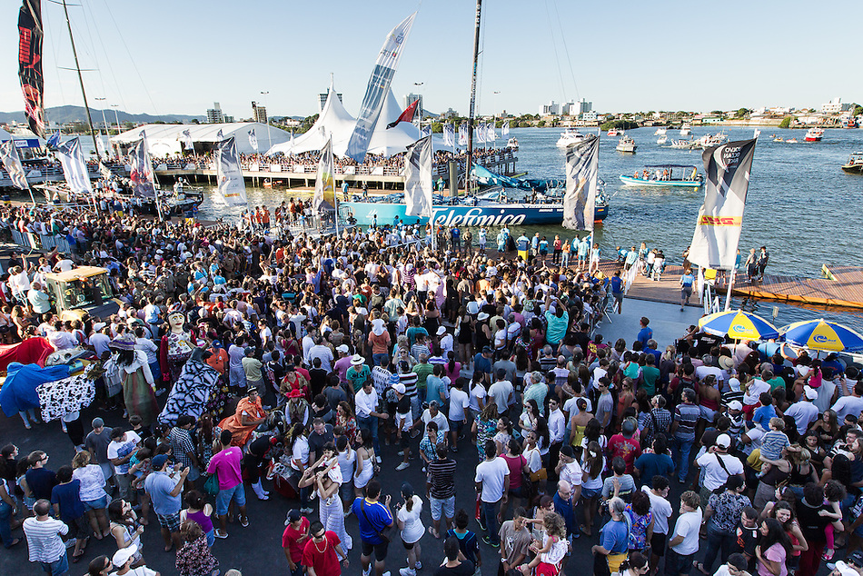 BRAZIL, Itajai. 6th April 2012. Volvo Ocean Race. Spectators welcome Team Telefonica to Itajai.