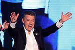 NEWS-Presidential Candidate Juan Manuel Santos celebrates his victory in Bogota