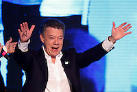 BOGOTA, Colombia. 15th June 2014. The President of Colombia Juan Manuel Santos celebrates after winning the runoff for presidential election in Bogota. Photo by Campaign/Daniel Munoz / VIEWpress TO EDITORS : THIS PICTURE WAS PROVIDED BY A THIRD PARTY.  THIS PICTURE IS DISTRIBUTED EXACTLY AS RECEIVED BY VIEWpress, AS A SERVICE TO CLIENTS