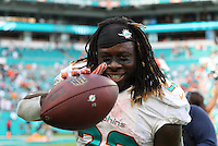 British Born Miami Dolphins  Running Back Jay Ajayi celebrates scoring the Winning Touchdown in Overtime against the Cleveland Browns on the 25th September 2016 at  the Hard Rock Stadium Miami Florida
