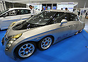 October 12, 2011, Yokohama, Japan - A six-wheel high-performance electric vehicle developed primarily by Japan's Keio University is on display during Electric Vehicle Development Technology Exhibition 2011 in Yokohama, south of Tokyo, on Wednesday, October 12, 2011. EVEX covers all EV-related processes from materials and design to completion. The trade show also provides rare opportunities to see and experience a trial ride the lates EVs. (Photo by Natsuki Sakai/AFLO) [3615] -mis-