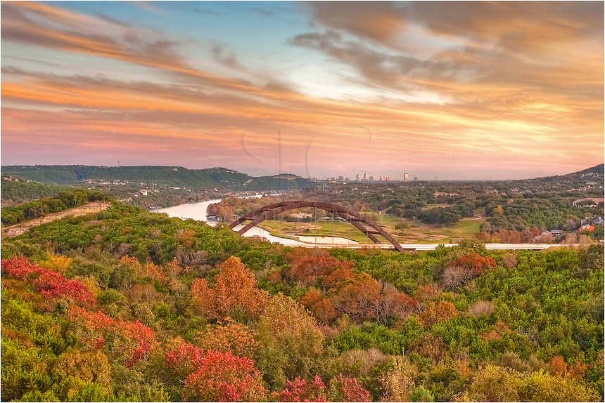 Austin, Texas isn't known for its fall colors, but if you know where to look, you can find some nice reds, oranges and golds. One location that I enjoy photographing in November is this view of Pennybacker Bridge. This image of the iconic Austin bridge comes just as a cold front was moving in. With the sun setting behind me, the clouds lit up in shades of orange, adding a nice backdrop for the fall colors surrounding Pennybacker Bridge with downtown Austin in the distance.