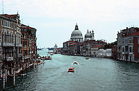 Venice:  Grand Canal from Academy Bridge--looking to Santa Maria Della Salute.  Photo '83.
