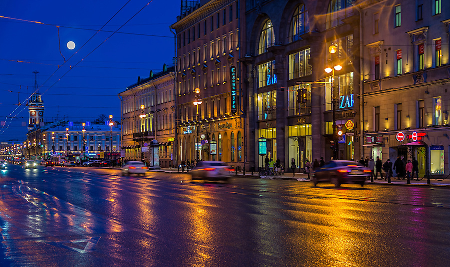 ST. PETERSBURG - CIRCA MARCH 2013: Nevsky Prospect Ave. in St. Petersburg, circa March 2013. This is a tourist attraction with 221 museums, 2000 libraries, and 80  plus theaters within the city.