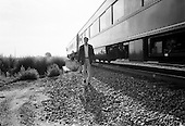 Lamar, Colorado.USA.August 7, 2004..Democratic Presidentual nominee Sen. John Kerry and VP nominee Sen. John Edwards take a whistle stop tour through the south western US states. The Senator leaves the train in early morning light...