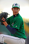 25 August 2008: Vermont Lake Monsters' starting pitcher PJ Dean warms up prior to facing the Hudson Valley Renegades at historic Centennial Field in Burlington, Vermont. The Lake Monsters defeated the Renegades 8-5 in the second game of their three-game series in Vermont...Mandatory Credit: Ed Wolfstein Photo