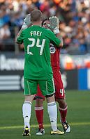 Stefan Frei (24) celebrates the goal with Nick Garcia (4). Toronto FC defeated the San Jose Earthquakes 3-1 at Buck Shaw Stadium in Santa Clara, California on May 29th, 2010.
