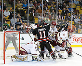 John Gravallese, John Muse (BC - 1), Pat Mullane (BC - 11), Justin Daniels (Northeastern - 11), Patrick Wey (BC - 6), Drew Ellement (Northeastern - 2), Tommy Cross (BC - 4) - The Boston College Eagles defeated the Northeastern University Huskies 5-4 in their Hockey East Semi-Final on Friday, March 18, 2011, at TD Garden in Boston, Massachusetts.