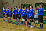 1 November 2015: The Yeshiva University Women's Volleyball Maccabees line up prior to a match against the SUNY College at Old Westbury Panthers at SUNY Old Westbury in Old Westbury, NY. The Panthers edged out the Maccabees 3-2 in NCAA women's volleyball, Skyline Conference play. Mandatory Credit: Ed Wolfstein Photo *** RAW (NEF) Image File Available ***