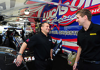 Jan. 17, 2012; Jupiter, FL, USA: NHRA top fuel dragster driver Morgan Lucas (right) with teammate Brandon Bernstein during testing at the PRO Winter Warmup at Palm Beach International Raceway. Mandatory Credit: Mark J. Rebilas-