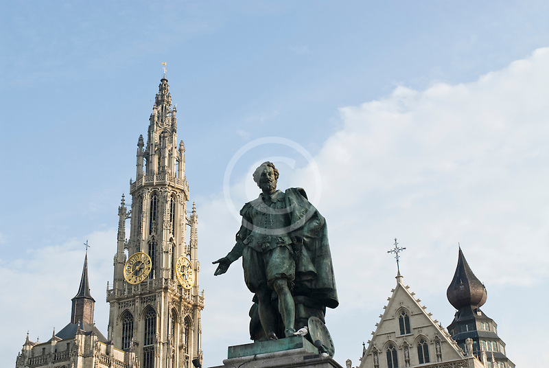 Belgium, Antwerp, Cathedral of Our Lady, Onze Lieve Vrouwekathedraal, and Statue of Peter Paul Rubens