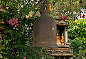 TH00398-00...THAILAND - A bell and shrine along the path to the summit of Golden Mount, (Phu Khao Thong), in Bangkok.