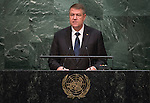 His Excellency Klaus Werner Iohannis, President of Romania <br /> <br /> General Assembly Seventieth session 9th plenary meeting: High-level plenary meeting of the (6th meeting)