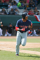 Salem Red Sox designated hitter Jose Sermo (16) at bat during a game against the Down East Wood Ducks  at Grainger Stadium on April 16, 2017 in Kinston, North Carolina. Salem defeated Down East 9-2. (Robert Gurganus/Four Seam Images)