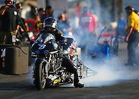Jun 3, 2016; Epping , NH, USA; NHRA top fuel Harley motorcycle rider Bob Malloy during qualifying for the New England Nationals at New England Dragway. Mandatory Credit: Mark J. Rebilas-USA TODAY Sports
