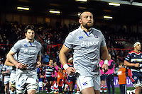 Tom Dunn and the rest of the Bath Rugby team run out onto the field. European Rugby Challenge Cup match, between Bristol Rugby and Bath Rugby on January 13, 2017 at Ashton Gate Stadium in Bristol, England. Photo by: Patrick Khachfe / Onside Images