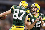 Green Bay Packers' Aaron Rodgers and Jordy Nelson celebrates Rodgers touchdown29-yard touchdown pass to Nelson in the 1st quarter. .The Green Bay Packers played the Pittsburgh Steelers in Super Bowl XLV,  Sunday February 6, 2011 in Cowboys Stadium. Steve Apps-State Journal.