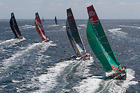 FRANCE, Lorient. 1st July 2012. Volvo Ocean Race, Start Leg 9 Lorient-Galway. l-r  Abu Dhabi Ocean Racing, Camper with Emirates Team New Zealand, Team Sanya, and Groupama Sailing Team.