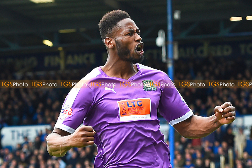 Jamille Matt of Plymouth Argyle celebrates after scoring the first Plymouth Argyle goal to make the score 1-1 during Portsmouth vs Plymouth Argyle, Sky Bet League 2 Football at Fratton Park on 16th April 2016