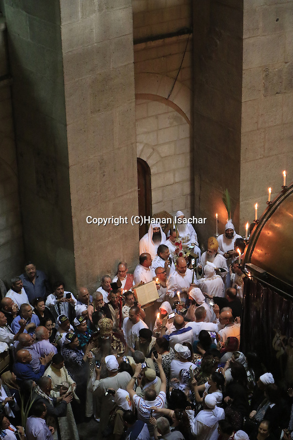 Israel, Jerusalem, Syrian Orthodox Palm Sunday ceremony at the Church of the Holy Sepulchre