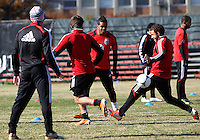 WASHINGTON, DC - NOVEMBER 14, 2012: Raphael Augusto (12) and Nick DeLeon (18) of DC United during a practice session before the second leg of the Eastern Conference Championship at DC United practice field, in Washington, DC on November 14.