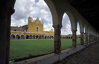 The Convento de San Antonio de Padua and the Santuario de la Virgen de Izamal, Izamal, Yucatan, Mexico. This 16th century convent was built on the remains of an ancient Mayan temple.