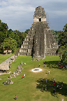 Great Plaza and Temple I or Temple of the Grand Jaguar, Maya ruins of Tikal, El Peten, Guatemala. Tikal is a UNESCO World Heritage Site....