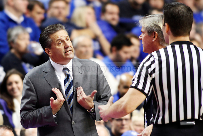 UK head coach John Calipari arguing with refs after a few tough calls against Kentucky during the second half of  the UK basketball game vs. Boise State on Tuesday, December 10, 2013, in Lexington, Ky. Photo by Kalyn Bradford   Staff