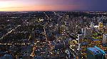 City of Toronto downtown panoramic view during sunset. Toronto, Ontario, Canada 2009.