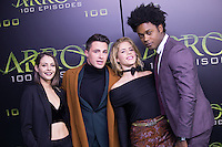 VANCOUVER, BC - OCTOBER 22: Willa Holland, Colton Haynes, Emily Bett Rickards and Echo Kellum at the 100th episode celebration for tv's Arrow at the Fairmont Pacific Rim Hotel in Vancouver, British Columbia on October 22, 2016. Credit: Michael Sean Lee/MediaPunch