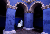 Blue walls of Santa Catalina Convent,the Monasterio de Santa Catalina, were built in 1580. Original walls and stairs are intact. Among the 30 cloistered nuns who live in behind private walls of the convent are five novicias who have to study for five years to become a nun.