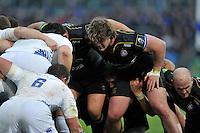 Nick Auterac of Bath Rugby prepares to scrummage against his opposite number. European Rugby Champions Cup match, between Bath Rugby and Leinster Rugby on November 21, 2015 at the Recreation Ground in Bath, England. Photo by: Patrick Khachfe / Onside Images
