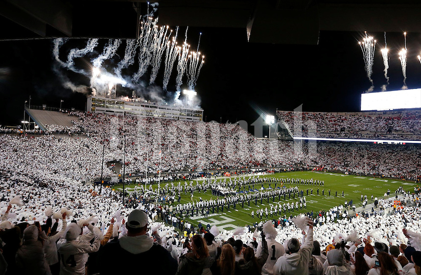 """Fans in the stadium exhibited a """"white out"""" during Saturday's Division I NCAA football game between the Ohio State Buckeyes and the Penn State Nittany Lions in State College, Pa., on Saturday, October 22, 2016. (Barbara J. Perenic/Photographer)"""