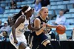 22 November 2016: Charleston Southern's Elyse Kiploks (AUS) (right) and North Carolina's Destinee Walker (left). The University of North Carolina Tar Heels hosted the Charleston Southern University Buccaneers at Carmichael Arena in Chapel Hill, North Carolina in a 2016-17 NCAA Women's Basketball game. UNC won the game 93-77.