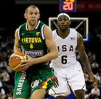 Lithuania guard (8) Ramunas Siskauskas drives past US forward (6) LeBron James while playing at the Cotai Arena inside the Venetian Macau Resort and Hotel.  The US defeated Lithuania, 120-84.