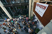 September 6, 2012. Raleigh, NC. A crowd gathers for at the Fletcher Opera Theater for Phil Cook & His Feat, the first performer at the 2012 Hopscotch Music Festival in Raleigh, NC.
