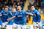 St Johnstone v Motherwell&hellip;20.02.16   SPFL   McDiarmid Park, Perth<br />Tam Scobbie celebrates his goal with Murray Davidson, David Wotherspoon and Joe Shaughnessy<br />Picture by Graeme Hart.<br />Copyright Perthshire Picture Agency<br />Tel: 01738 623350  Mobile: 07990 594431