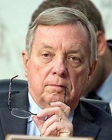 United States Senate Minority Whip Dick Durbin (Democrat of Illinois) listens as Judge Neil Gorsuch testifies before the United States Senate Judiciary Committee on his nomination as Associate Justice of the US Supreme Court to replace the late Justice Antonin Scalia on Capitol Hill in Washington, DC on Tuesday, March 21, 2017.<br /> Credit: Ron Sachs / CNP /MediaPunch