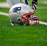 20 December 2009: A New England Patriots helmet lies on the turf prior to a game against the Buffalo Bills at Ralph Wilson Stadium in Orchard Park, New York. The Patriots defeated the Bills 17-10. Mandatory Credit: Ed Wolfstein Photo