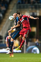 Conor Casey (6) of the Philadelphia Union goes up for a header with Gonzalo Segares (13) of the Chicago Fire. The Philadelphia Union defeated the Chicago Fire 1-0 during a Major League Soccer (MLS) match at PPL Park in Chester, PA, on May 18, 2013.