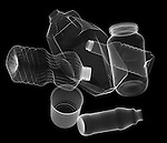 X-ray image of spread containers (white on black) by Jim Wehtje, specialist in x-ray art and design images.