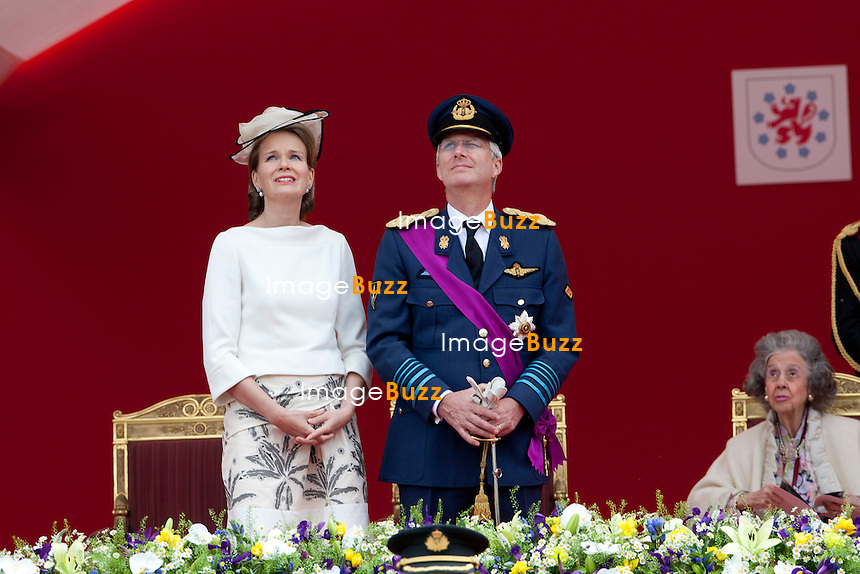 Princess Mathilde of Belgium, Crown Prince Philippe of Belgium and Queen Fabiola of Belgium pictured during a military parade on the occasion of today's Belgian National Day, Saturday 21 July 2012 in Brussels.