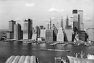 New York City, New York, 01 OCT 1971: View of the construction underway on the towers of the future World Trade Center in downtown Manhattan which, when completed, will be the world's highest building.