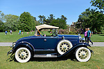 Old Westbury, New York, United States. 7th June 2015. A blue 1931 Ford Model A roadster with white wall tires, owned by Roger F. Clark of Kings Park, is shown at the 50th Annual Spring Meet Car Show sponsored by Greater New York Region Antique Automobile Club of America. Over 1,000 antique, classic, and custom cars participated at the popular Long Island vintage car show held at historic Old Westbury Gardens.