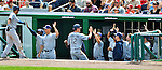 29 May 2011: The San Diego Padres celebrate a run scored against the Washington Nationals at Nationals Park in Washington, District of Columbia. The Padres defeated the Nationals 5-4 to take the rubber match of their 3-game series. Mandatory Credit: Ed Wolfstein Photo
