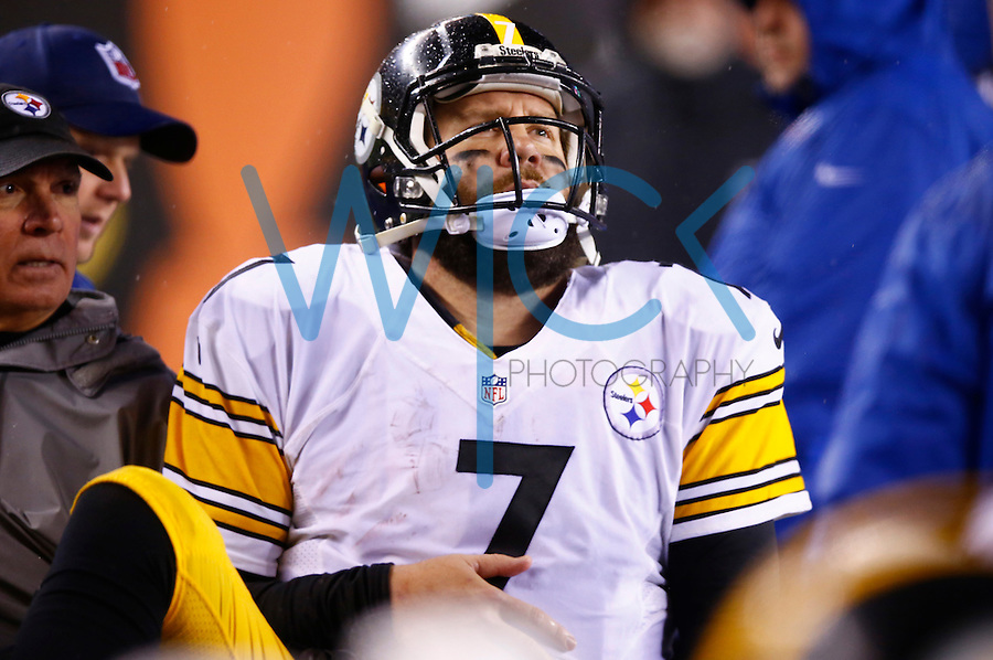 Ben Roethlisberger #7 of the Pittsburgh Steelers sits in the cart after leaving the game with a shoulder injury after being sacked by Vontaze Burfict #55 of the Cincinnati Bengals in the second half during the Wild Card playoff game at Paul Brown Stadium on January 9, 2016 in Cincinnati, Ohio. (Photo by Jared Wickerham/DKPittsburghSports)