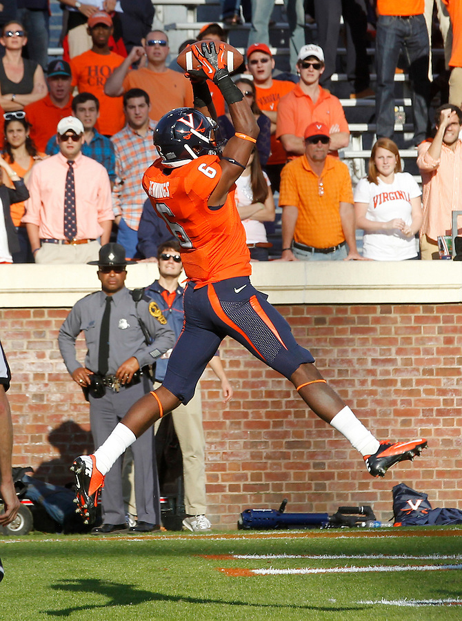 Virginia Cavaliers wide receiver Darius Jennings (6) makes a touchdown catch in the 4th quarter of the game against the Miami Hurricanes at Scott Stadium in Charlottesville, VA. Virginia won 41-40.