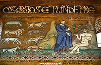Medieval Byzantine style mosaics of the story of Adam & Eve,  the Palatine Chapel, Cappella Palatina, Palermo, Italy