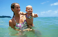 Hawaii, Kauai, mother & 13 m.o. baby girl