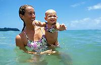 Hawaii, Kauai, mother & 13 m.o. baby girl